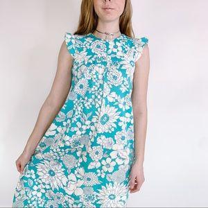 Vintage Dresses - Vintage 60s Floral Hawaii Ruffle Babydoll Maxi